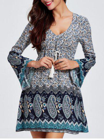 Discount Bell Sleeves Hollow Out Flowers Print Dress