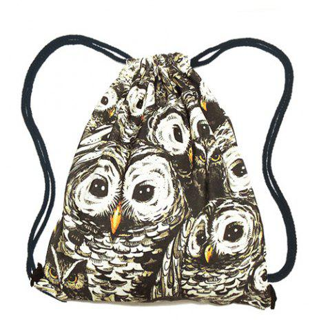 Online Casual Owl Print and Drawstring Design Backpack For Women BLACK