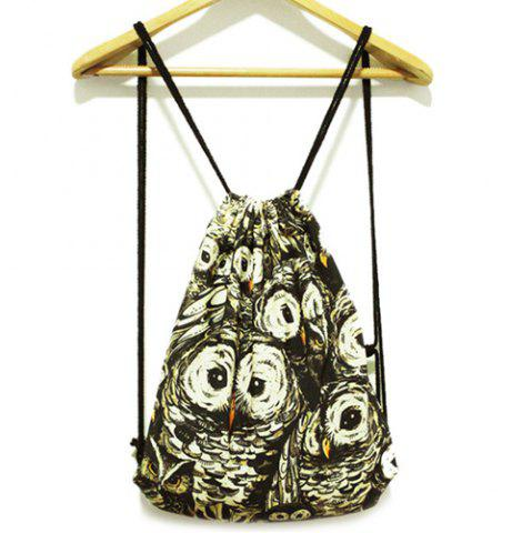 Discount Casual Owl Print and Drawstring Design Backpack For Women - BLACK  Mobile