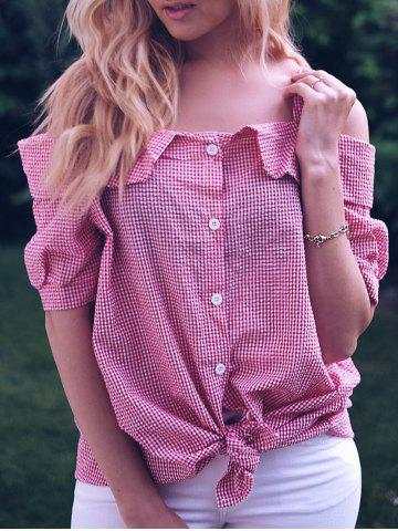 Outfit Sweet Plus Size Cold Shoulder Gingham Short Sleeve Women's Blouse