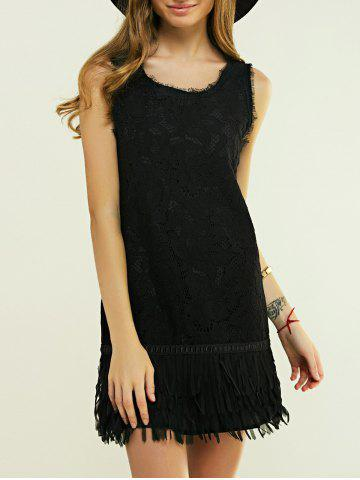 Online Sleeveless Fringed Skinny Dress BLACK L