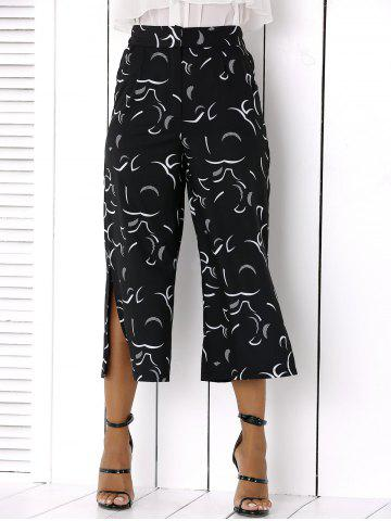 Sale Side Slit Wide-Leg Capri Pants