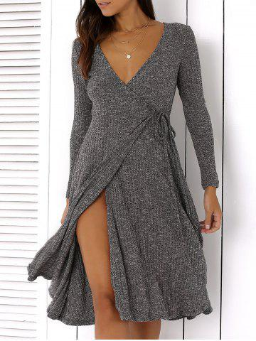 Cheap Plunging Neck Tie-Side Long Sleeve Dress