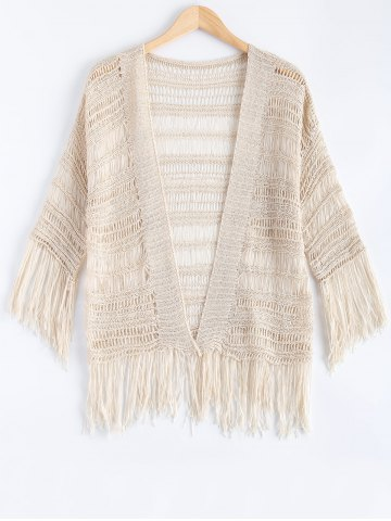 New Ethnic Fringe Crochet Translucent Short Cardigan
