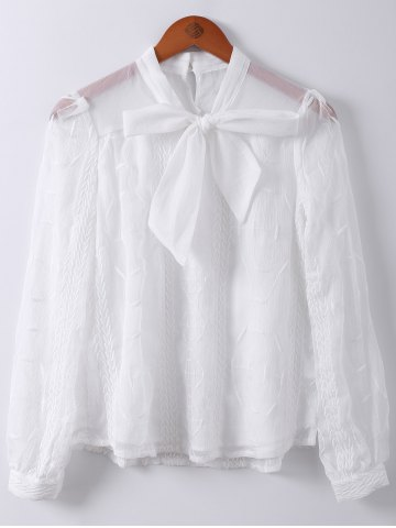 Outfit Sweet Bowknot Collar Semi Sheer Long Sleeve Spliced Chiffon Shirt