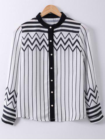 Buy Ladylike Stand Collar Stripe Zigzag Print Long Sleeve Shirt