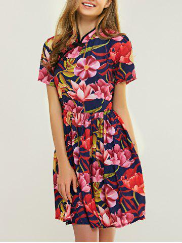 Chic Ladylike Mandarin Collar Floral Print Fit and Flare Dress