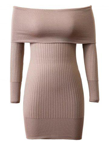 Knitted Off-The-Shoulder Slimming Dress - Khaki - One Size