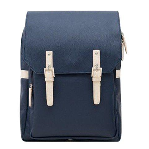 Discount Fashion PU Leather and Double Buckle Design Backpack For Men -   Mobile