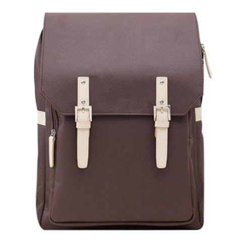 Store Fashion PU Leather and Double Buckle Design Backpack For Men - COFFEE  Mobile
