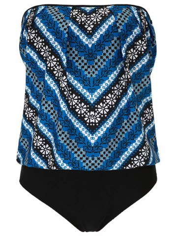 Unique Tribal Print One Piece Strapless Swimsuit BLUE 2XL