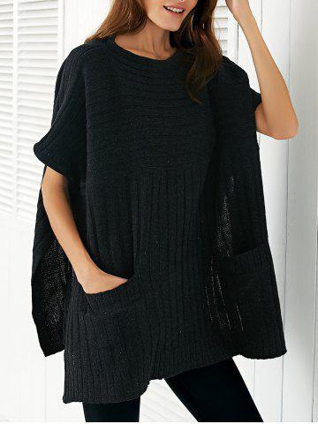 Trendy Round Neck Ribbed Cape Plus Size Sweater