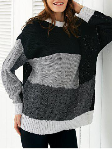 Round Neck  Color Block Sweater - Black - One Size