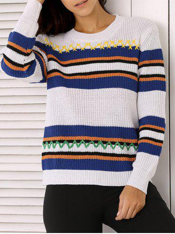 New Long Sleeve Stripe Colorful Embroidered Sweater
