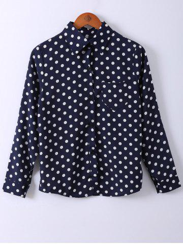 Discount Shirt Collar Polka Dot Print Long Sleeve Shirt