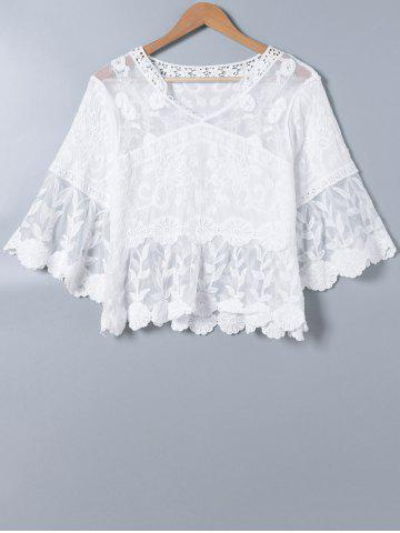 Hot Lace Splicing V Neck Bell Sleeve Blouse