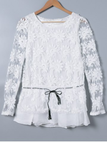 Outfit Embroidery Long Sleeve See-Through Blouse