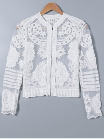 Shops Lace Splicing See-Through Embroidery Coat