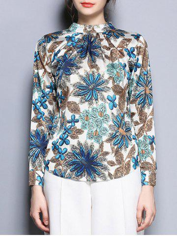 Stand Collar Long Sleeve Floral Print Blouse - Colormix - 2xl