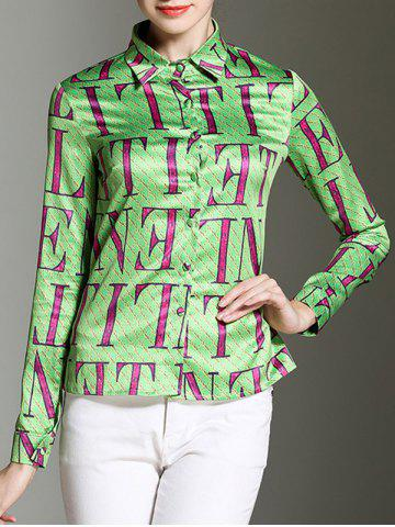 Chic Shirt Collar Letter Print Button Design Satin Shirt