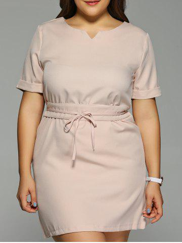New Plus Size Pure Color Short Sleeve High Waist Dress
