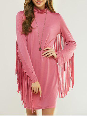 Shop Cowl Neck Long Sleeve Fringed Flapper Dress PINK M