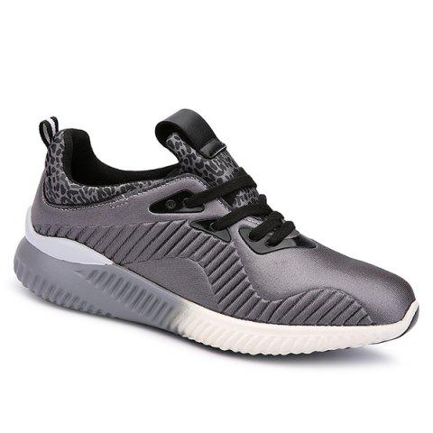 Shop Fashion Lace-Up and Splicing Design Athletic Shoes For Men GRAY 40