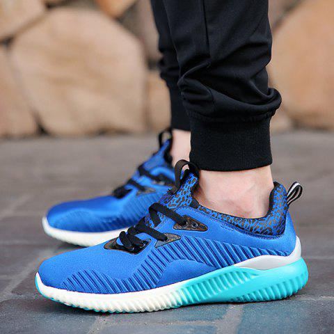 New Fashion Lace-Up and Splicing Design Athletic Shoes For Men - 42 BLUE Mobile