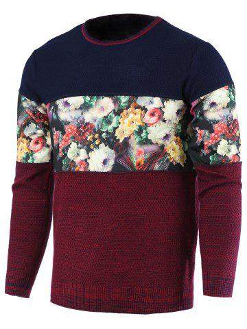 Latest Color Block Splicing Floral Print Round Neck Long Sleeve Sweater For Men RED 2XL