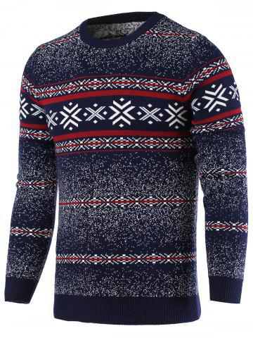 Unique Snowflake Pattern Round Neck Long Sleeve Sweater For Men CADETBLUE 2XL