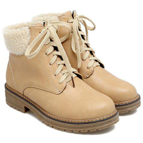 Sale Stylish Faux Shearling and Lace-Up Design Short Boots For Women APRICOT 39
