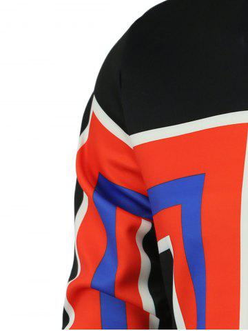Fancy Color Block Geometric Print Stand Collar Long Sleeve Sweatshirt For Men - L RED Mobile
