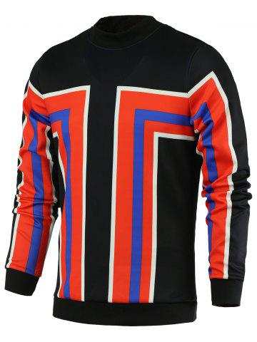 Discount Color Block Geometric Print Stand Collar Long Sleeve Sweatshirt For Men - L RED Mobile