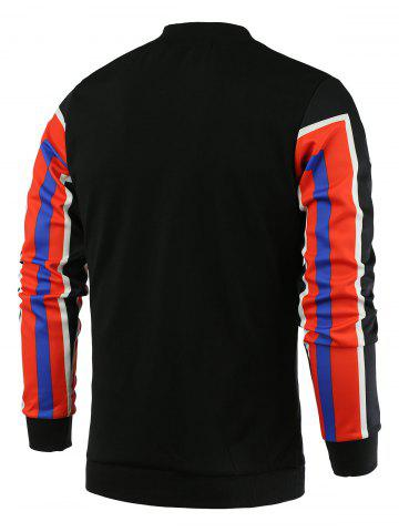 Fancy Color Block Geometric Print Stand Collar Long Sleeve Sweatshirt For Men - M RED Mobile