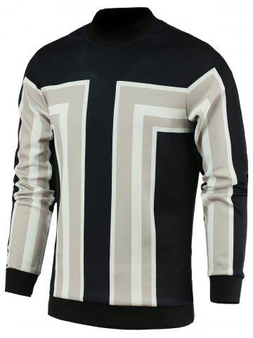 Store Color Block Geometric Print Stand Collar Long Sleeve Sweatshirt For Men - XL LIGHT GRAY Mobile