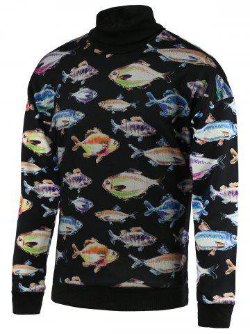 Online 3D Fish Print Turtle Neck Long Sleeve Sweatshirt For Men - M BLACK Mobile