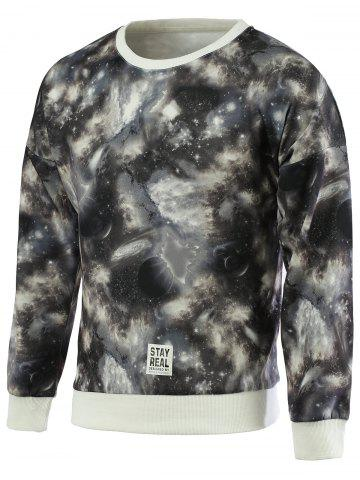 Discount Fashionable Galaxy Print Round Neck Long Sleeve Sweatshirt For Men