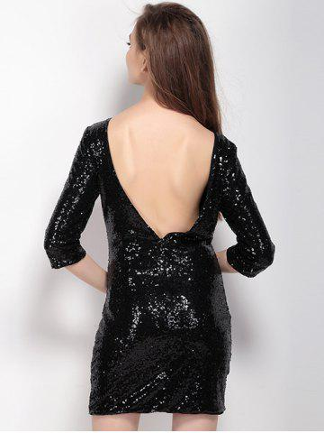 Store Short Backless Sequin Glitter Club Dress BLACK 2XL