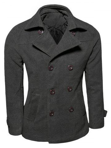Trendy Turn-down Collar Long Sleeve Woolen Blend Peacoat