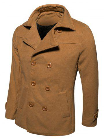 Fashion Turn-down Collar Long Sleeve Woolen Blend Peacoat