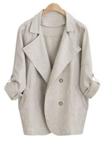 Outfit Turn Down Collar Loose-Fitting Thin Coat APRICOT XL