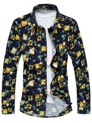 Shops Long Sleeve Turn-Down Collar Printed Sport Shirt - L COLORMIX Mobile