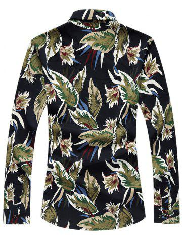 Buy Long Sleeve Turn-Down Collar Withered Leaf Printed Sport Shirt - 2XL BLUE Mobile