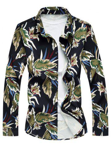 Store Long Sleeve Turn-Down Collar Withered Leaf Printed Sport Shirt BLUE 2XL