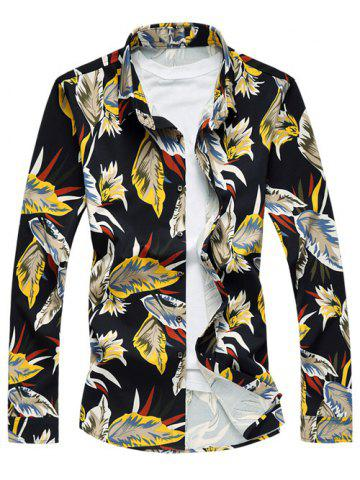 Store Long Sleeve Turn-Down Collar Withered Leaf Printed Sport Shirt - 3XL YELLOW Mobile