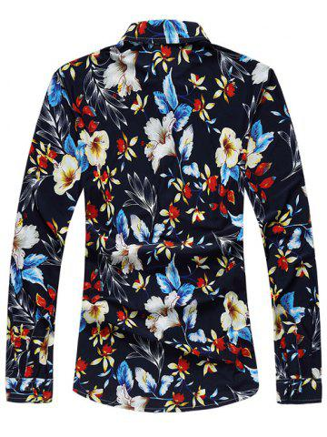 Fancy Casual Long Sleeve Floral Printed Hawaiian Shirt - XL COLORMIX Mobile
