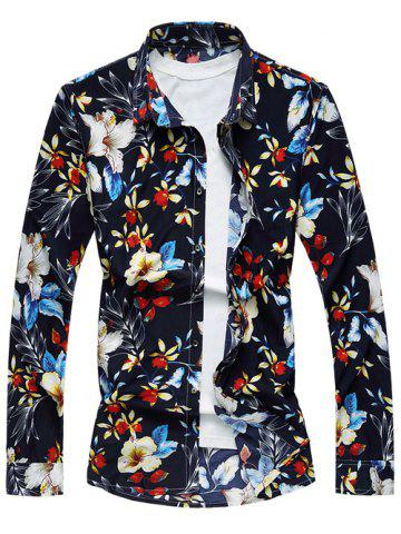 Fancy Casual Long Sleeve Floral Printed Hawaiian Shirt - L COLORMIX Mobile