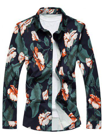 Vintage Turn-Down Collar Long Sleeve Floral Printed Shirt - GREEN 4XL