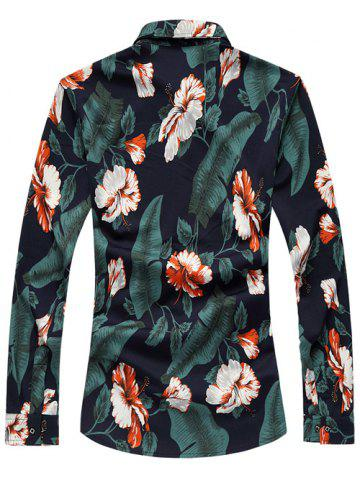 Fashion Turn-Down Collar Long Sleeve Floral Hawaiian Shirt - XL GREEN Mobile