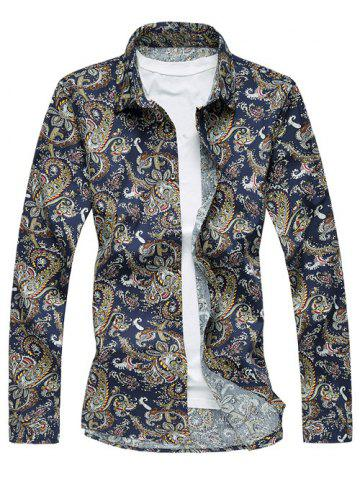 Outfit Retro Turn-Down Collar Long Sleeve Abstract Printed Shirt PURPLISH BLUE 6XL